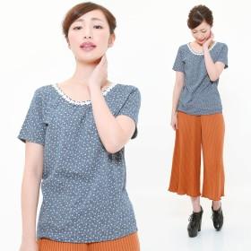 Tシャツ - CLOTHY ■2019年春夏新作■■Natural■ フラワーレース 使い 小花柄 クルーネック 半袖 カットソー (M/L)