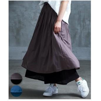 パンツ ワイド ガウチョ レディース スカート 重ね着風ガウチョ M〜L ニッセン