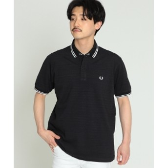 FRED PERRY × BEAMS / 別注 白芯鹿の子 ダブルカラー ポロシャツ メンズ ポロシャツ BLACK S