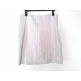 【中古】 ヒューゴボス HUGOBOSS スカート サイズ40 XL レディース グレー アイボリー ストライプ