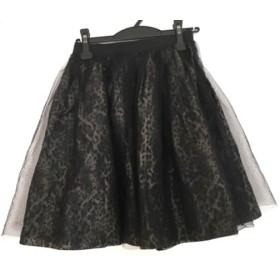 【中古】 グレースコンチネンタル スカート サイズ36 S レディース 黒 グレー 豹柄/チュール