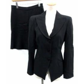 【中古】アルマーニ コレツィオーニ ARMANI COLLEZIONI スーツ セットアップ 上下 ジャケット スカート 38 黒 ブラック /EK レディース
