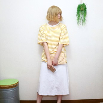 Tシャツ - LADY LIKE ボーダービッグTシャツ ボーダー トップス Tシャツ カジュアル シンプル 着回し 半袖 海