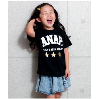 【15%OFF】 アナップキッズ 箔星ANAPロゴBIGTシャツ レディース BK 120 【ANAP KIDS】 【セール開催中】