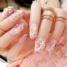 ネイルチップ つけ爪 かわいい おしゃれ 3D デコレーション 花 フラワー レース デザイン 結婚式 披露宴 二次会 発表会 24P ピンク
