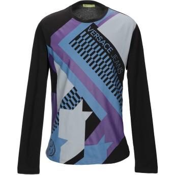 《セール開催中》VERSACE JEANS メンズ T シャツ ブラック XS コットン 100%