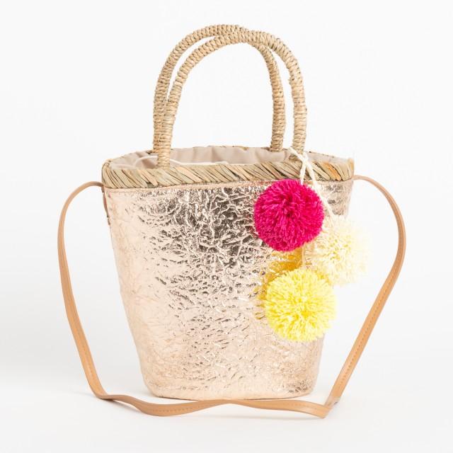 VIVAYOU ビバユー メタリックカラーのポンポン飾りつき2WAYかごバッグ