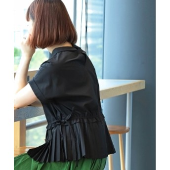 Ray BEAMS / プリーツ キリカエ プルオーバーシャツ レディース カジュアルシャツ BLACK ONE SIZE