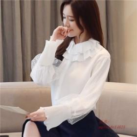 2019 春ランタンスリーブベビー襟白シフォンシャツ女性 ファッション長袖ピーターパン襟白シフォントップス