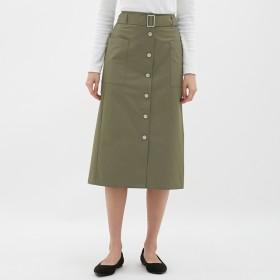 (GU)ウエストベルトナローミディスカート OLIVE XXL