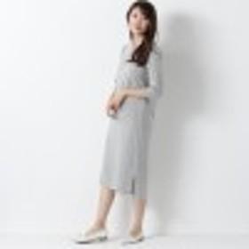 裾スリット入り七分袖バスクカットソーワンピース【M~4L】