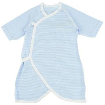 新生児 [スナップタイプ]コンビ肌着 長袖 ボーダー サックス インナー・パジャマ 新生児・乳児(50~80cm) コンビ肌着・長下着 (30)