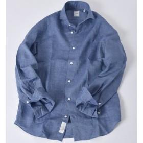 【シップス/SHIPS】 SD:【ALBINI】 ウォッシュド リネン ソリッド ホリゾンタルカラーシャツ(ブルー系)