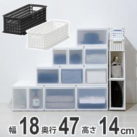 収納バスケット スリム S プラスチック バスケット 収納 日本製 ( 収納ボックス 幅18 奥行47 ボックス 高さ14 )