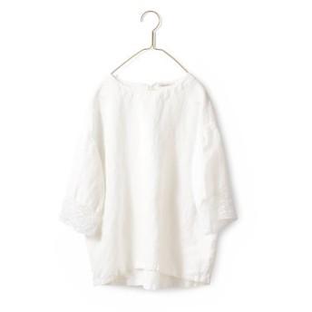 袖口にレーストップス〈レディース〉白 サニークラウズ フェリシモ FELISSIMO【送料無料】