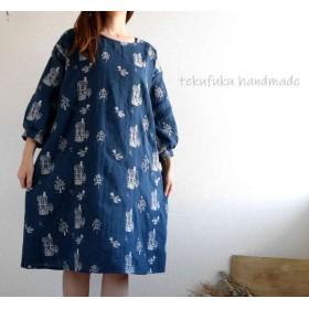 鳥と木刺繍Wガーゼのパフ8分袖ワンピ(ネイビー)・M~L