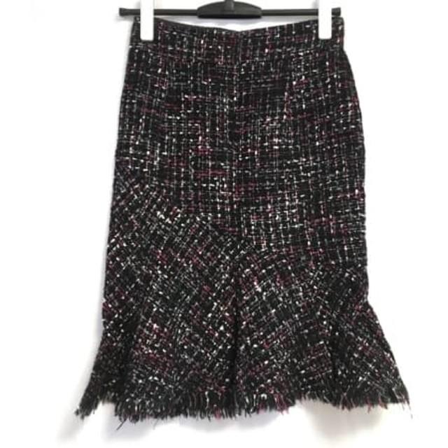 【中古】 マテリア MATERIA スカート サイズ36 S レディース 黒 ピンク マルチ ツイード/ラメ