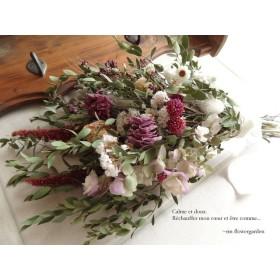 【母の日】*rin 39cm 芍薬&オレガノ 紫スワッグ *ドライフラワー ウェルカムスペース