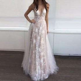 ロングドレス 大きいサイズ パーティードレス イブニングドレス Vネック レディース セクシー結婚式お呼ばれドレスキャバ二次会発表会