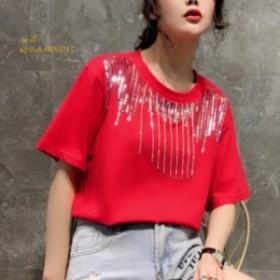 2019 新シックな女性 tシャツ半袖ブリンブリンビン tシャツ o ネックスパンコールトップス光沢 あるスパンコールタッセル tシャツ