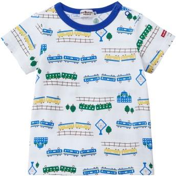 ミキハウス マリン&電車 総柄プリント半袖Tシャツ 白