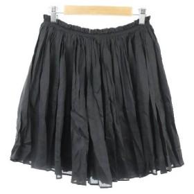 アクアガール aquagirl スカート フレア プリーツ ひざ丈 ジップフライ シワ加工 コットン シルク混 36 黒 ブラック /MO9 レディー