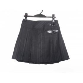 【中古】 バーバリーブルーレーベル スカート サイズ36 S レディース 黒 ダークグレー チェック柄