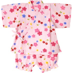 ミキハウス 二重織ガーゼ さくら柄キャビットちゃん甚平スーツ ピンク