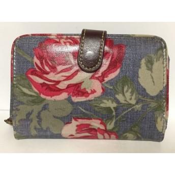 【中古】 キャスキッドソン 2つ折り財布 ブルー レッド グリーン 花柄 コーティングキャンバス