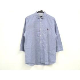 【中古】 バーバリーブラックレーベル 七分袖シャツ サイズ3 L メンズ 美品 ブルー 白 チェック柄