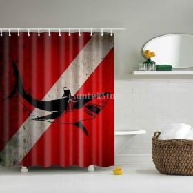 高品質 シャワーカーテン バスルームの装飾 カーテン 動物柄 12リング付属 180×180cm 防水 3種選べ - 鮫