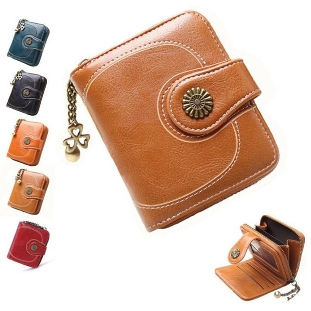 0c586df4c418 財布 ミニ財布 レディース 二つ折り レザー財布 小銭入れ カード入れ ファスナー 大容量 多