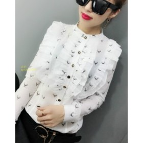 2019春ロングスリーブスタンド襟プリント白い綿 シャツ女性オフィスワークフリル黒ブラウスアントラーズプリント綿トップス