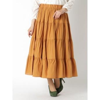 【大きいサイズレディース】【LL-6L展開】カラーティアードスカート スカート ロングスカート