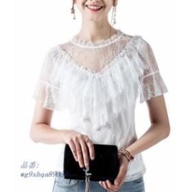 2019 新半袖女性ホワイトレース tシャツ なスウィートフリルレーストップス女性半袖白レース tシャツ