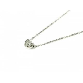 【中古】 スタージュエリー ネックレス 美品 K18WG ダイヤモンド 総重量:2.2g/0.04カラット/ハート