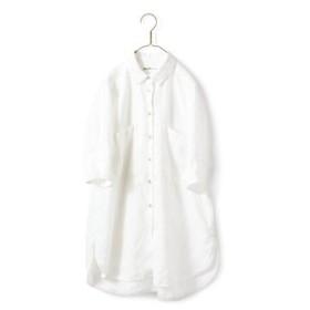 やっぱり麻が好きちょい長シャツ〈レディース〉白 サニークラウズ フェリシモ FELISSIMO【送料無料】