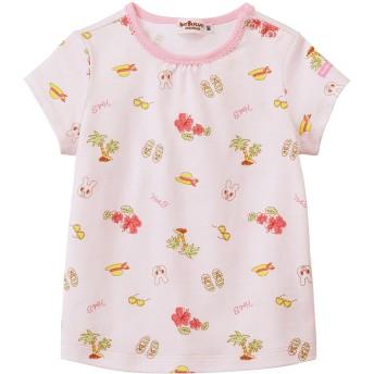 ミキハウス 南国&お花 総柄プリント半袖Tシャツ ピンク
