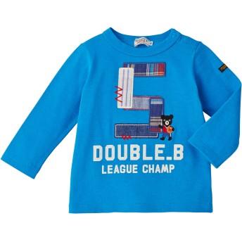ミキハウス 【アウトレット】リメイク風刺繍の長袖Tシャツ ブルー