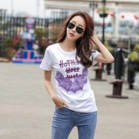 人気 2019 夏ビーズ綿女性 Tシャツおかしいグラフィックス O ネックルーズ Ladiese トップカジュアル半袖女性韓国 Tシャツ