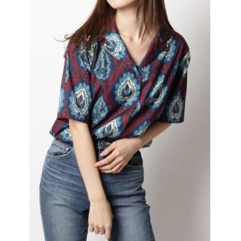 エヴリス Ethnic Flower オープンカラーシャツ レディース ネイビー F 【EVRIS】
