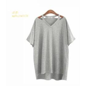 新しいvネックtシャツ女性 tシャツ2019夏 トップス綿ルーズ半袖韓国服tシャツファム人気 人気