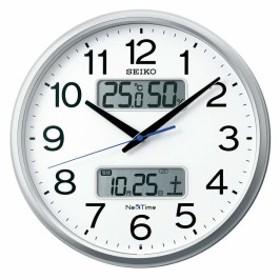 7c1b09338e セイコークロック 掛け時計 01:銀色メタリック 01:直径35cm 電波 アナログ カレンダー 温度 湿度