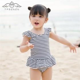 【送料無料】キッズ 水着 女の子 みずぎ子供  女の子  女児用 スクール ラッシュガード スイムウェア 子供  ロンパース 女児 横縞