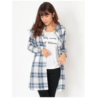 CECIL McBEE(セシルマクビー)ロゴ刺繍Tシャツ付きチェックシャツ
