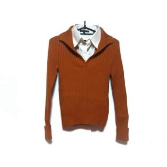 【中古】 ニジュウサンク 23区 長袖セーター サイズ38 M レディース オレンジ 白