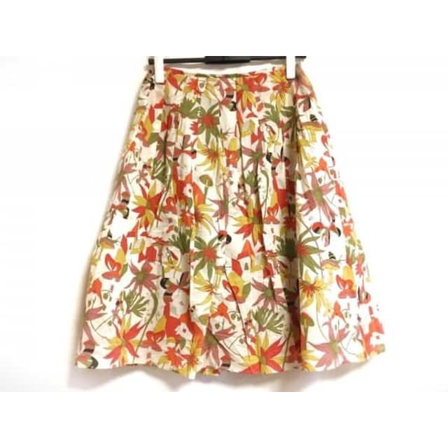 【中古】 ホコモモラ JOCOMOMOLA スカート サイズ40 XL レディース アイボリー マルチ 花柄
