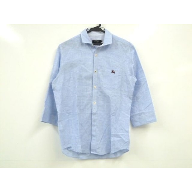 【中古】 バーバリーブラックレーベル 七分袖シャツ サイズ2 M メンズ 美品 ライトブルー 白 チェック柄