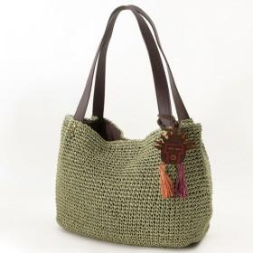 バッグ カバン 鞄 かごバッグ エスニックモチーフ付きペーパーショルダーカゴバッグ カラー 「カーキ」
