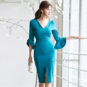 レディース2019 ドレス シルエットワンピース ドレス きれいめ 細身  ファッション 春夏